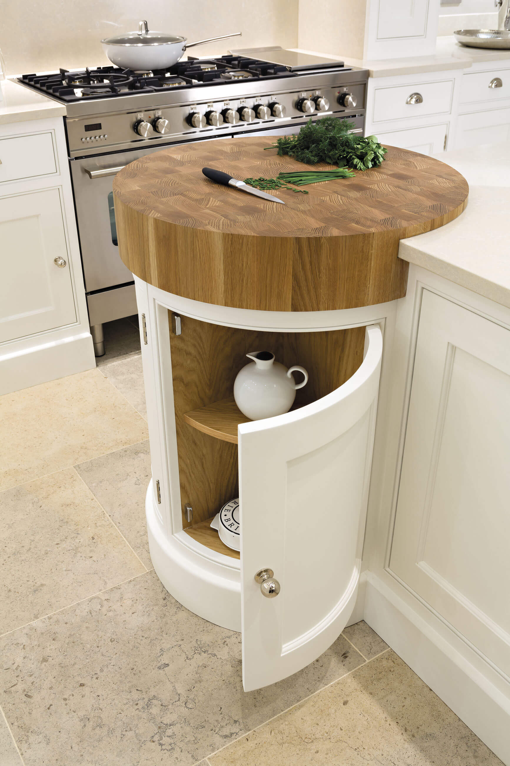 1. Carve Out A Space For The Cutting Board Inside The Kitchen Island