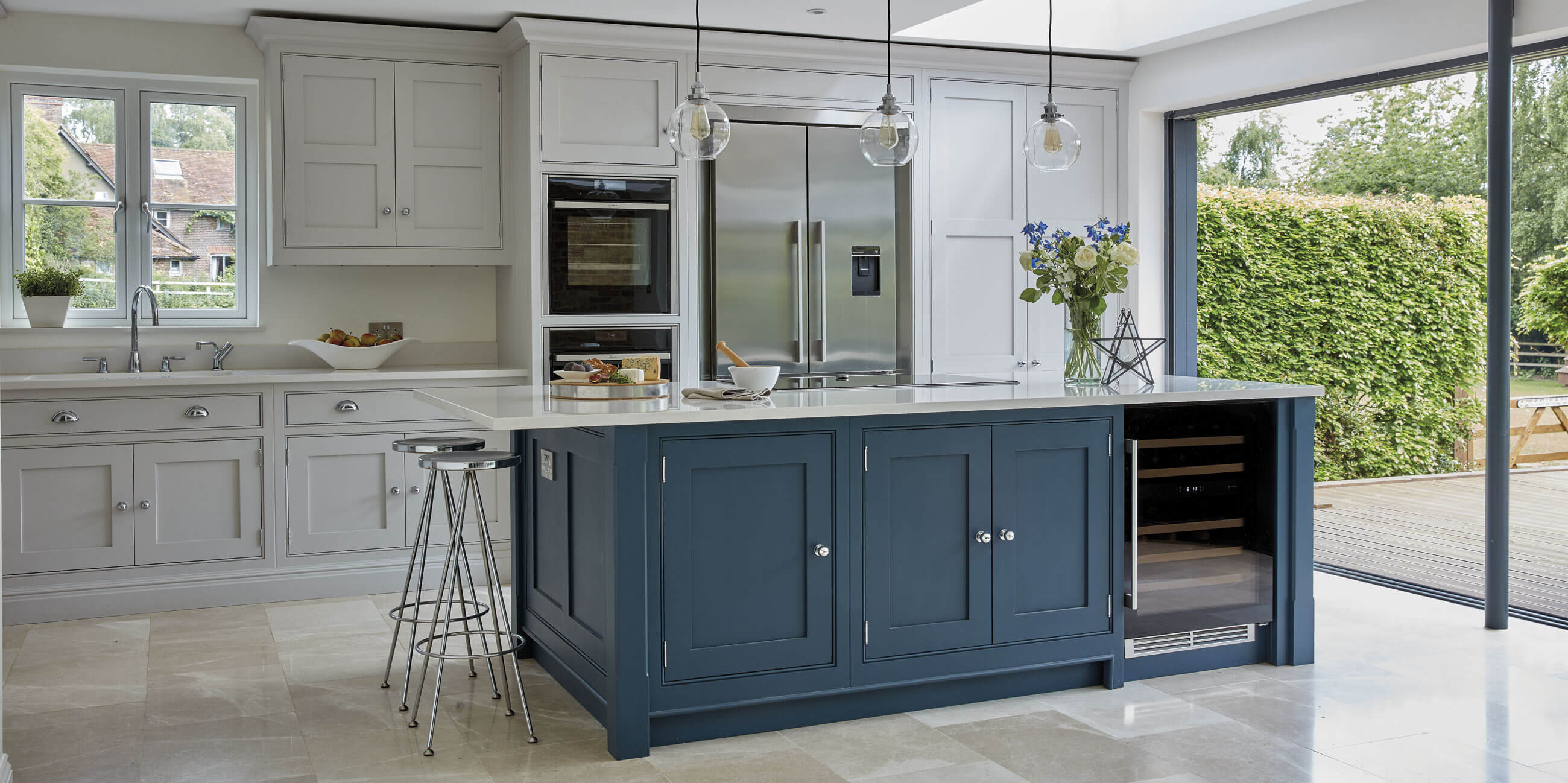 Light Blue Kitchen Medium Oak Cabinet