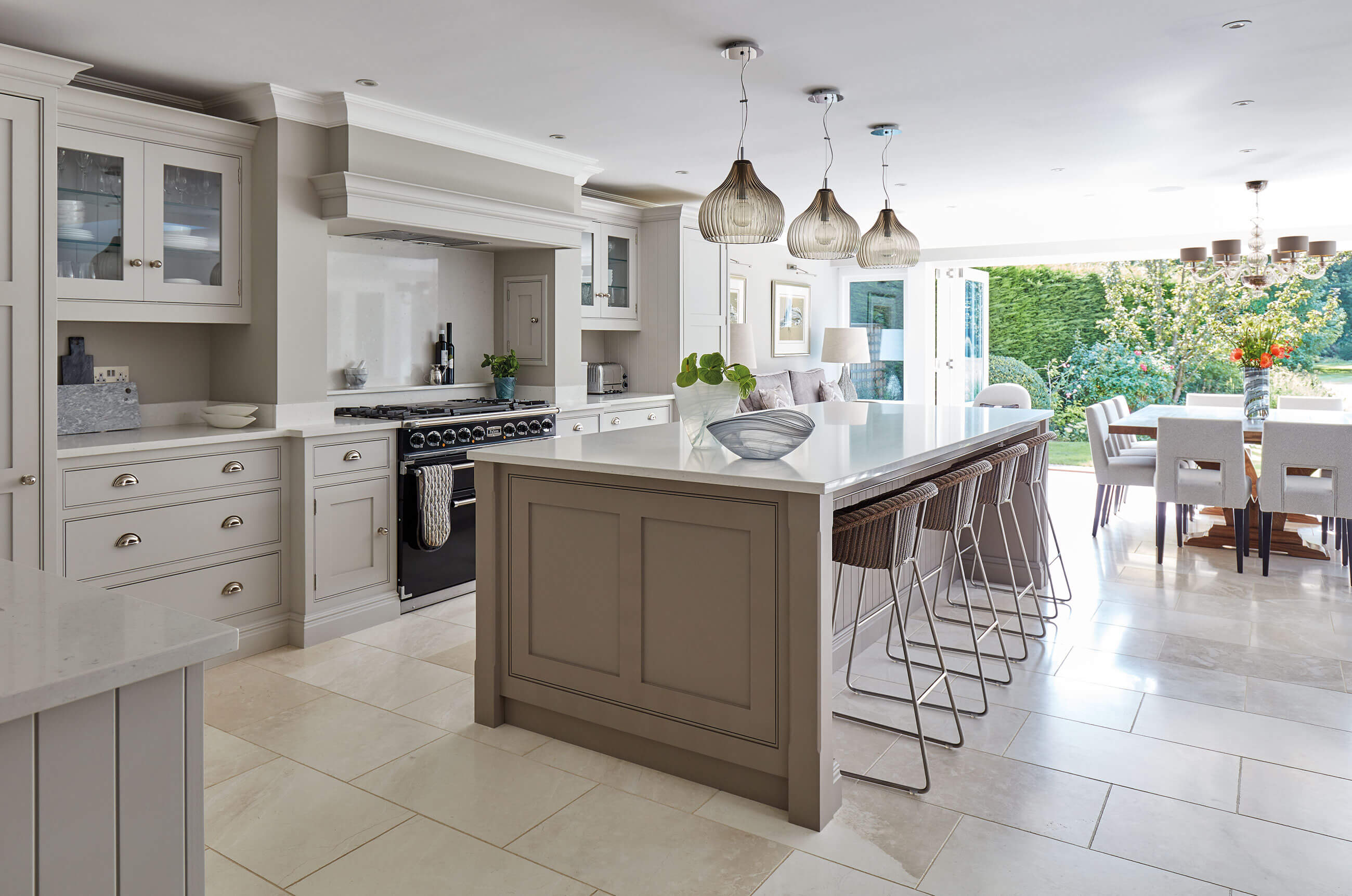 Open plan grey kitchen tom howley Kitchen design of sevenoaks