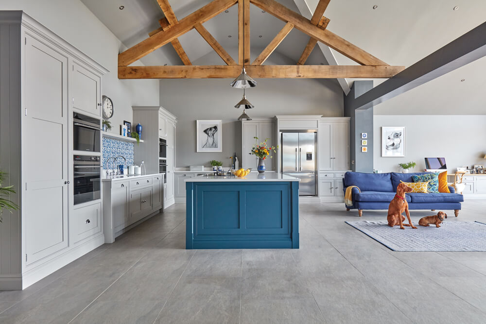 Blue Fitted Contemporary Kitchen