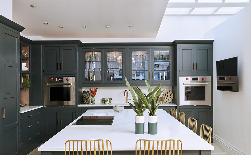 Dark Green Shaker Style Kitchen