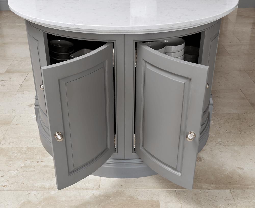 curved grey kitchen