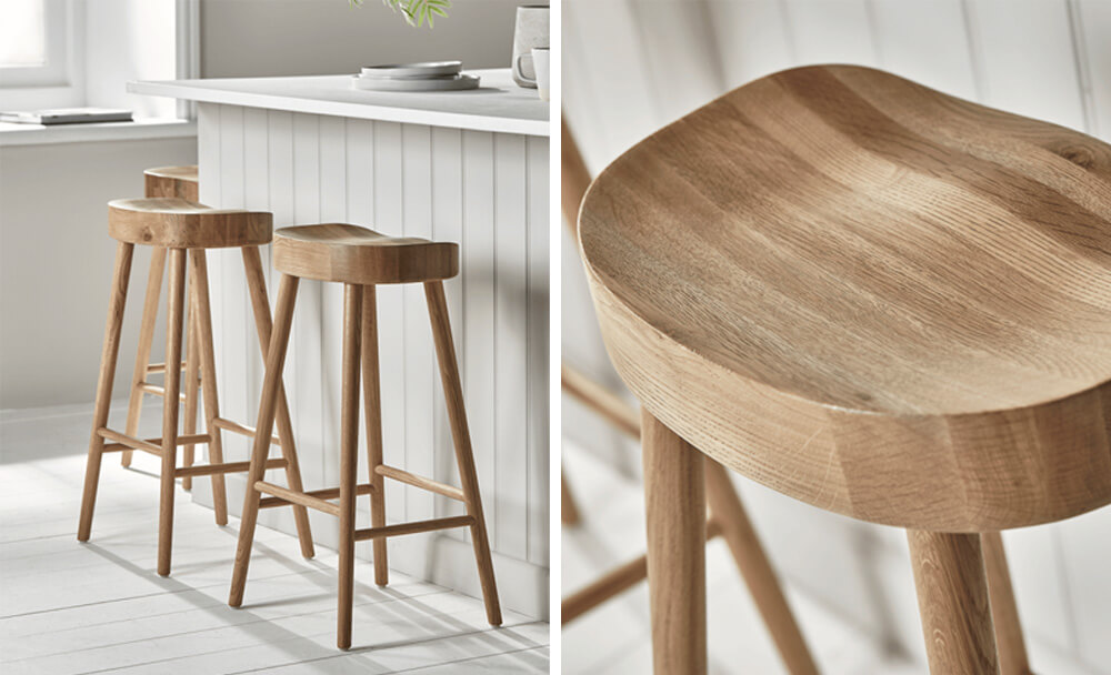 Cox and Cox Weathered Oak Counter Stool