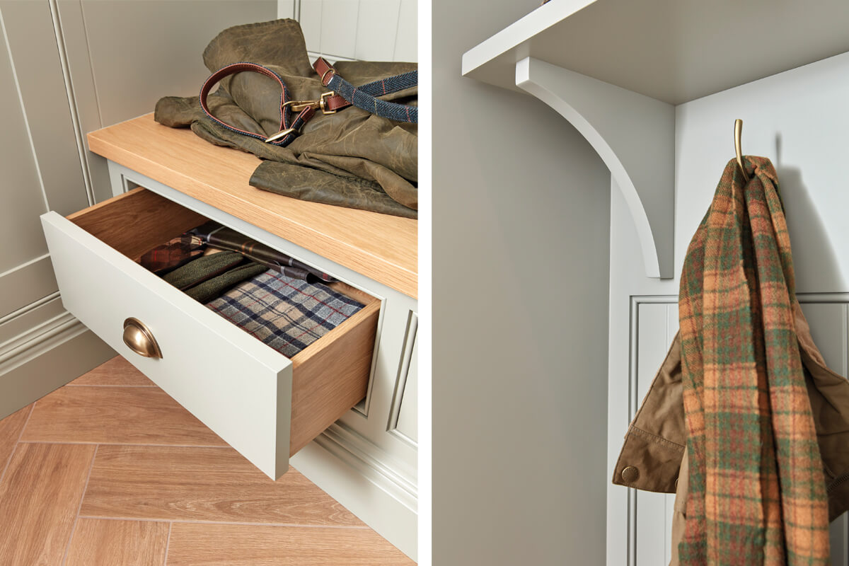 Bootility room bench seating with drawer storage and floating shelf detail.