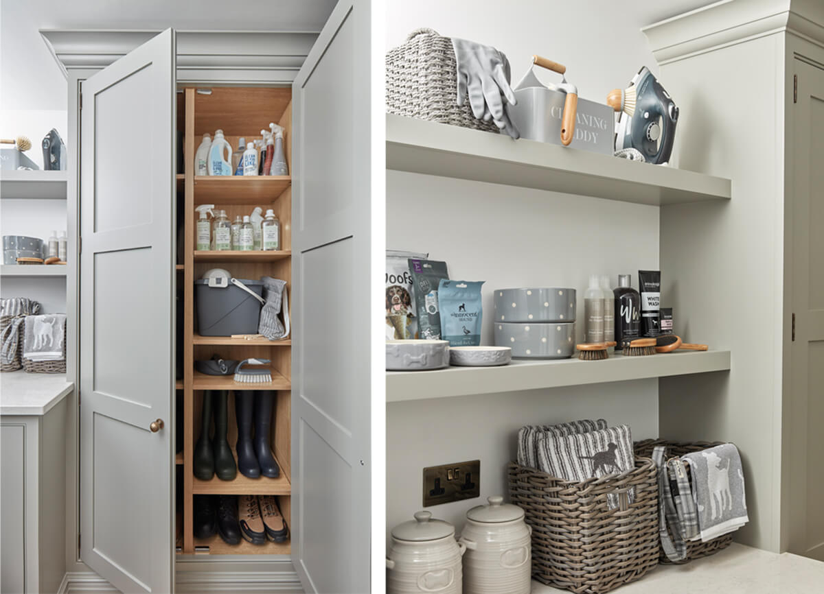 Tall utility room storage and bespoke open shelving.