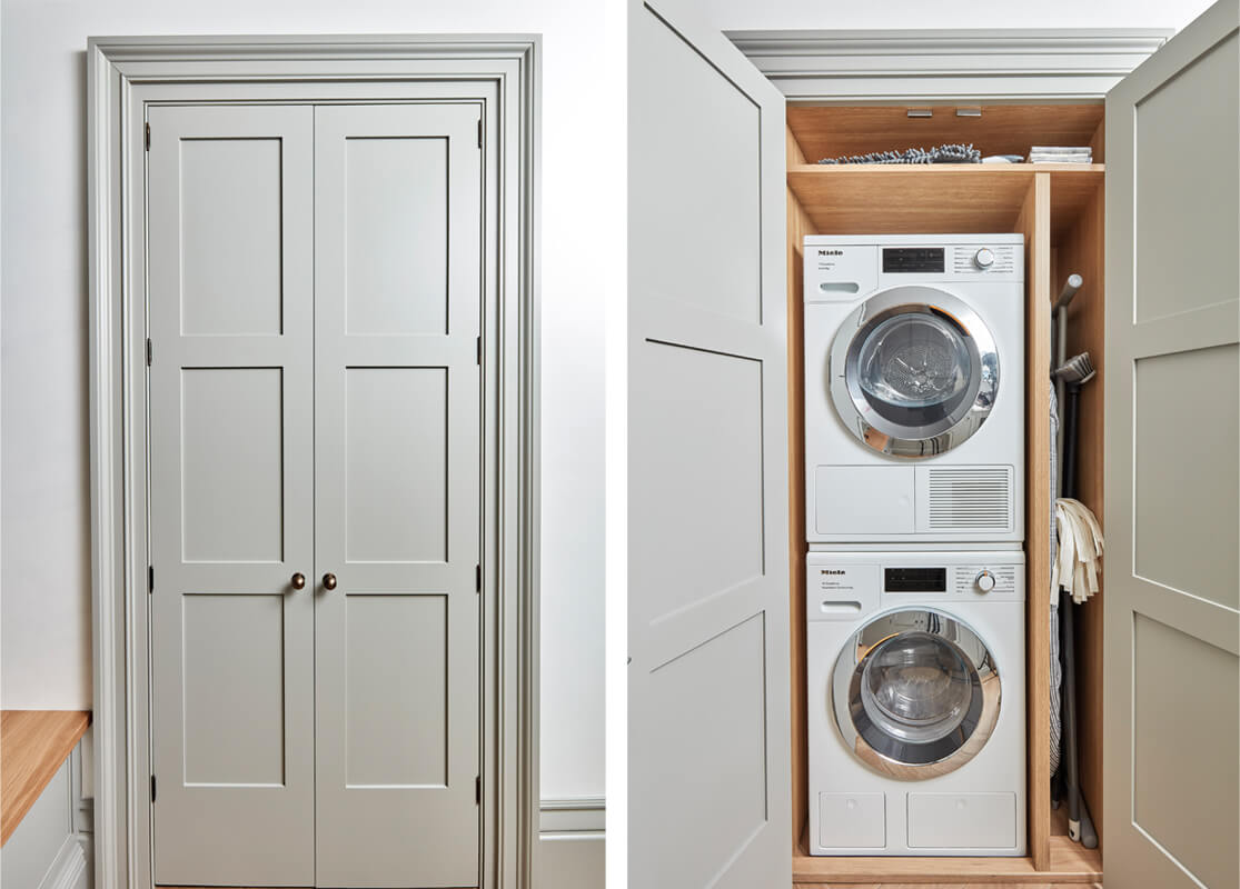 Bootility storage. Full-height cabinet with stacked washing machine and tumble dryer.