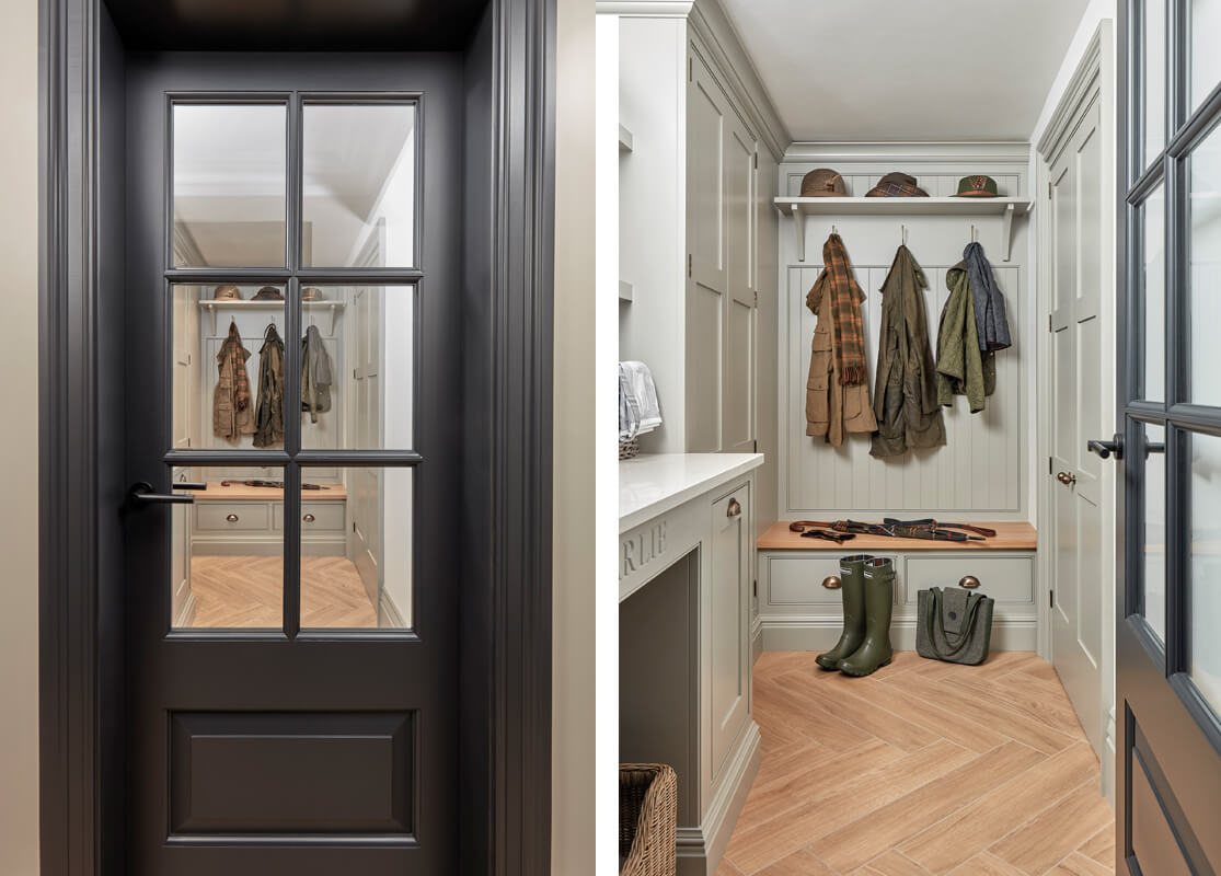 Glazed doors leading into a shaker style bootility room.