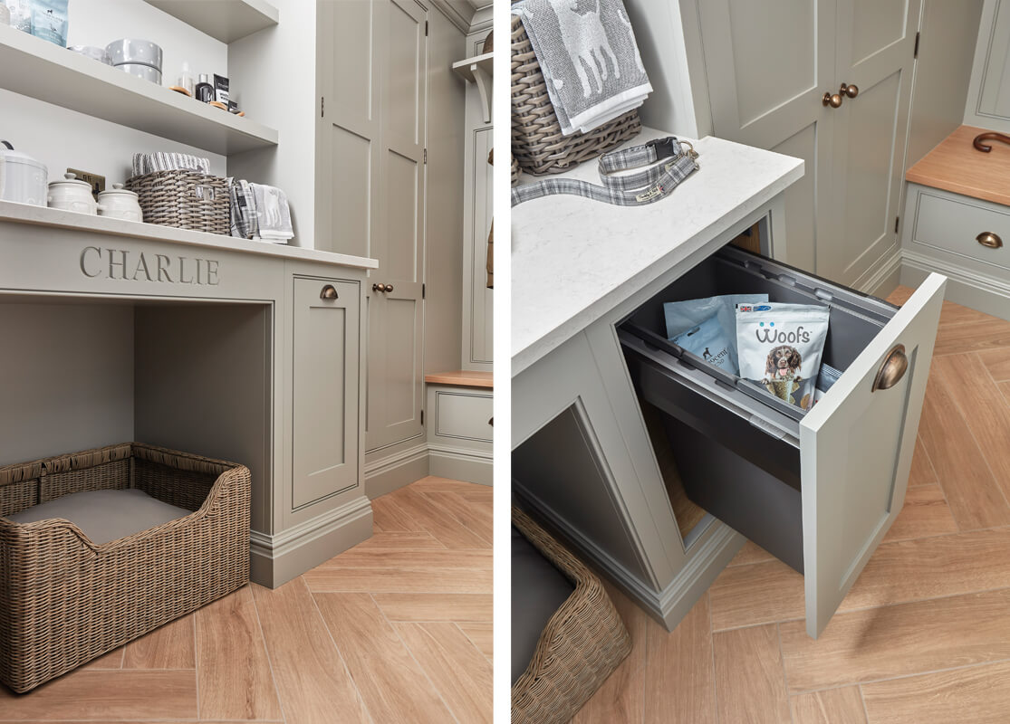 Boot room dog bed and bespoke storage.